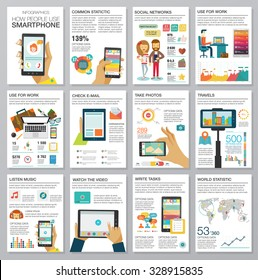 Social Media Infographic set with charts, icons, map, diagrams, other elements. People use smartphone, social networks, camera, looking news, video and picture. Vector illustration, flat modern style.