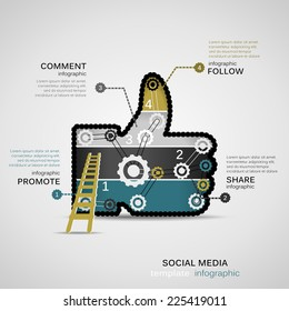 Social Media infographic template with geared thumb up