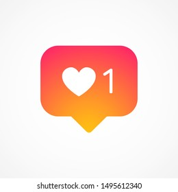 Social media instagram colorful template counter notification like 1. Vote 1 icon colorful gradient. Social media instagram concept. Vector illustration. EPS 10