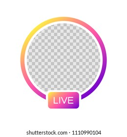 Social media Instagram icon avatar stories user LIVE video streaming colorful gradient. Vector illustration. EPS 10