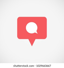 Social media Instagram icon comment. Red color comment button, symbol, sign. Insta Message sign, post symbol. Element for social network, web, ui, mobile, app. Vector illustration. EPS 10
