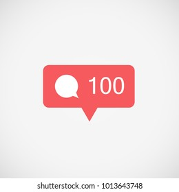 Social media Instagram, icon comments 100. Comments button, symbol, logo. Message sign, post symbol. Insta comments 100 icon, ui, app. Vector illustration. EPS 10.