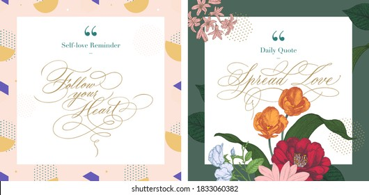 social media instagram influencer account quote post template with hand-written calligraphy copperplate script in feminine style and botanical elements. self love reminder spring soft pastel theme.