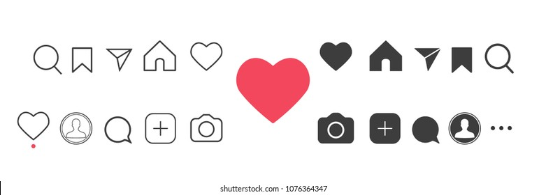 Social media Instagram interface set buttons, icons: home, camera, comment, search, photo camera, heart, like, user story. Vector illustration. EPS 10