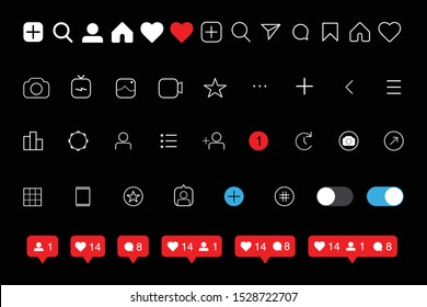 Social media Instagram interface set buttons, icons: home, camera, comment, search, photo camera, heart, like, user story. Dark mode. Vector illustration. EPS 10
