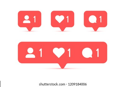 Social media Instagram modern like 1, follower 1, comment 1 red color. Like, follower, comment button, icon, symbol, ui, app, web. Vector illustration. EPS 10.
