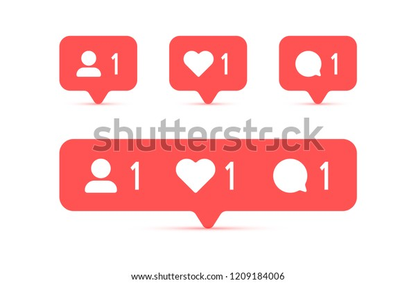 Social media Instagram modern like 1, follower 1, comment 1 red color. Like, follower, comment button, icon, symbol, ui, app, web. Vector illustration. EPS 10.