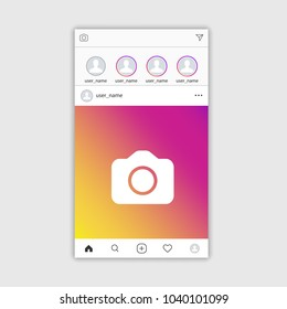 Social media Instagram photo frame template stories mobile interface, ui, app, web. Vector illustration. EPS 10