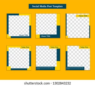 Social media Instagram square  post template with casual sporty and formal style in yellow and navy blue color frame template for promotion and personal