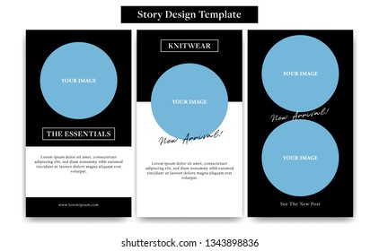 Social Media instagram Story design template with round circle frame in black white classic style for fashion, promotion, or flyer ads banner