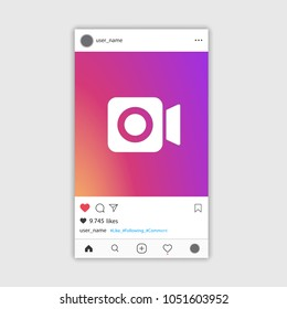 Social media Instagram video frame gradient colour, ui, app, web. Vector illustration. EPS 10