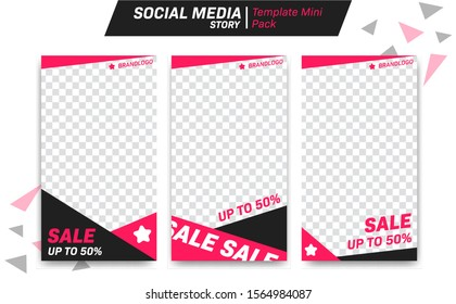 Social media instagram whatsapp story vector editable design template discount sale promotion black pink color style