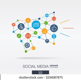 Social Media integrated thin line web icons in megaphone message shape. Digital neural network interact concept. Connected graphic design polygons and circles system. Background for market service