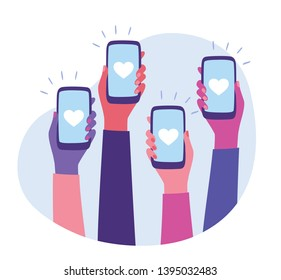 Social Media Interaction. Social network communication on mobile app. Hands holding smartphone with like button on the screen. Mobile application and modern technology concept. Flat style vector