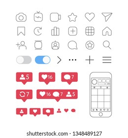 Social media interface set outline buttons elements, instagram icons: like, share, home, comment, add, turn on, turn off, search, video, photo, tv, save, rate, home. iphone instagram mock up