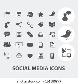 social media, internet blog icons set, vector