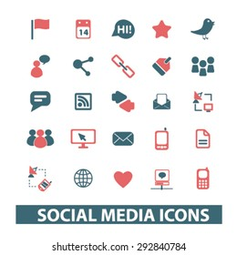 social media isolated vector icons