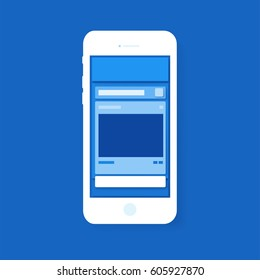 Social media layout popup layer with blue color tone. mock-up on smart phone. vector illustration.
