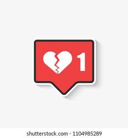 social media like broken heart Icon in Vector