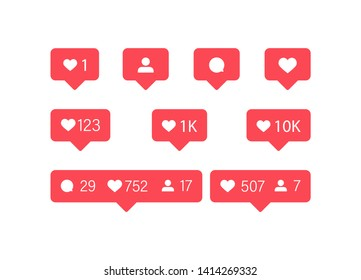 Social media. Like icon vector. Instagram Comment and Follower icons vector. Vector illustration.