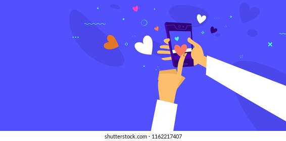 Social media likes concept illustration. Smart phone with hands for business design. Eps10 vector