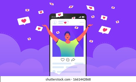 Social media likes and hearts flying down in clouds. Flat vector concept illustration of happy man standing into his social media page and getting hands up as winner with flying hearts speech bubbles