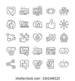 Social media line icons. Set - Share network, Rating and Social links linear icons. Heart, Feedback smile emotion and internet media. Share network, like icon, video content rating and dislike. Vector