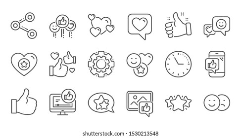 Social media line icons. Share network, Like thumbs up and Rating. Feedback smile linear icon set. Quality line set. Vector