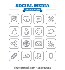 Social media linear icons set. Speech bubble, lovers relationships and human person. Rss, share and mail envelope. Musical note, smartphone and smile. Thin outline signs. Flat square vector