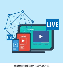 Social media live steaming concept vector
