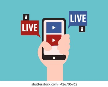 Social media live streaming concept vector