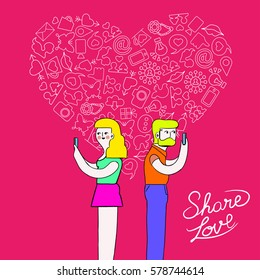 Social media love concept vibrant colors illustration. Hand drawn modern young hipster man and woman couple using mobiles with outline icon heart shape composition. EPS10 vector.