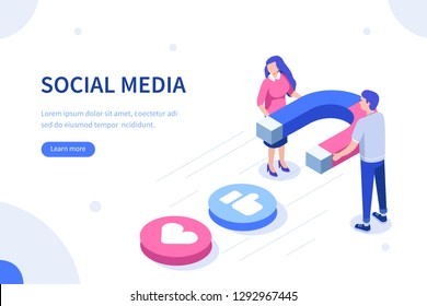 Social media magnet concept. Can use for web banner, infographics, hero images. Flat isometric vector illustration isolated on white background.