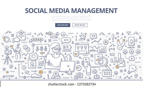 Social media management concept. Businesswoman scheduling & publish posts, analyzing results, optimize performance, responding on comments, measuring ROI, reaching new customers online. SMM