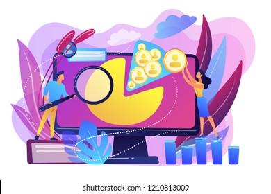 Social media managers work with social media profiles and platforms. Social media management, company SMM strategy, digital marketing tool concept. Bright vibrant violet vector isolated illustration