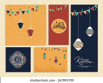 Social media and marketing banners or card for holy month of Muslim community, Ramadan Kareem celebration.