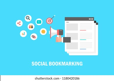 Social media marketing, Social Booking, Social content sharing flat vector illustration with icons isolated on blue background