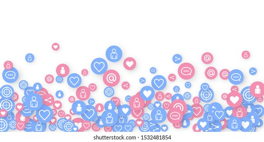 Social media marketing, Communication networking concept. Random icons social media services tags linked on white background. Comment, friend, like, share, target, message. Vector Internet concept.