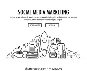 Social Media Marketing concept header template. Banner with different SMM icons elements on white background. Roket icon in centre. Grafic and writing, and other content.