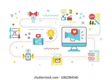 Social media marketing concept illustration with line icons