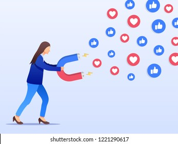 Social media marketing concept. Young businesswoman attracting likes and loves with a huge magnet. Flat design. Vector illustration