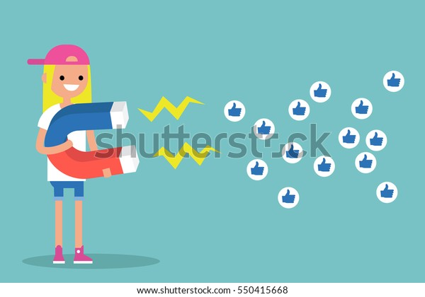 Social media marketing concept. Young blonde girl attracting likes with a huge magnet / editable flat vector illustration