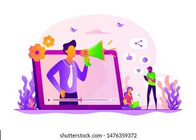 Social media marketing, digital promo campaign. SMM strategy. Like comment share giveaway, social networks promotion, like farming concept. Vector isolated concept creative illustration