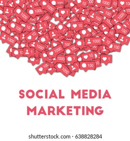 Social media marketing. Social media icons in abstract shape background with counter, comment and friend notification. Social media marketing concept in marvelous vector illustration.