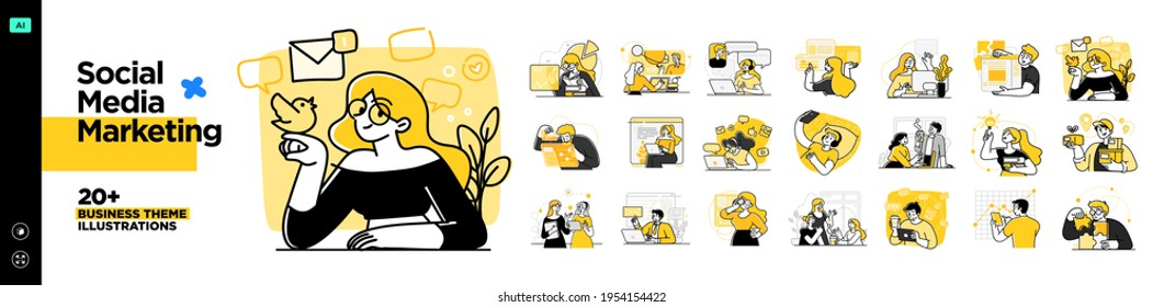 Social Media Marketing illustrations. Mega set. Collection of scenes with men and women taking part in business activities. Trendy vector style - Shutterstock ID 1954154422