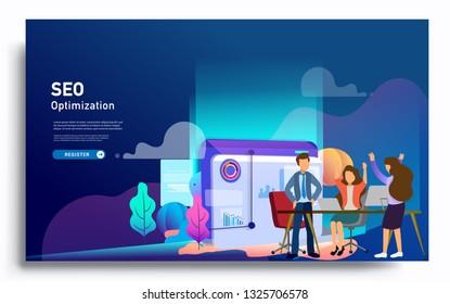Social media marketing landing page template. Modern flat design concept of web page design for website and mobile website. Vector illustration