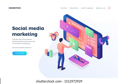 Social media marketing landing page vector template. Modern internet promotion service website homepage interface idea with isometric illustrations. SMM management web banner 3D cartoon concept