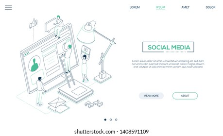 Social media marketing - line design style isometric web banner on white background with copy space for text. A header with male, female SMM specialists, images of computer monitor, lamp, book, chats