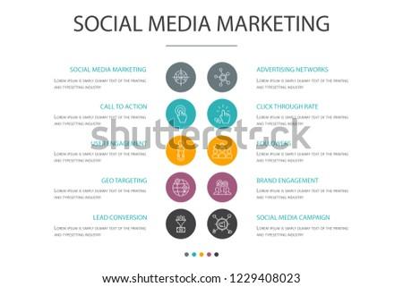 social media marketing presentation template cover stock vector