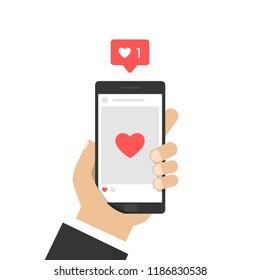 Social media marketing reaching potential customers. Like icon. Vector illustration.